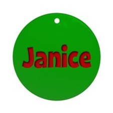 Janice Green and Red Ornament (Round)