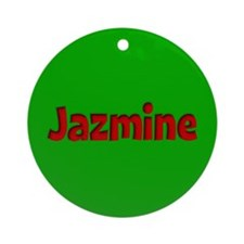 Jazmine Green and Red Ornament (Round)
