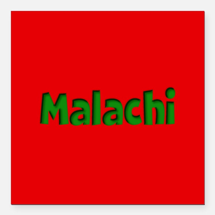"Malachi Red and Green Square Car Magnet 3"" x 3"""