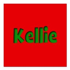 "Kellie Red and Green Square Car Magnet 3"" x 3"""