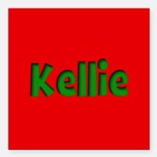 """Kellie Red and Green Square Car Magnet 3"""" x 3"""""""