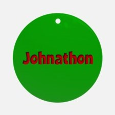 Johnathon Green and Red Ornament (Round)