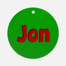 Jon Green and Red Ornament (Round)