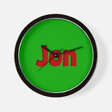 Jon Green and Red Wall Clock