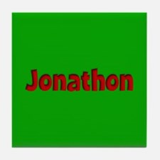Jonathon Green and Red Tile Coaster