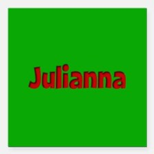 "Julianna Green and Red Square Car Magnet 3"" x 3"""