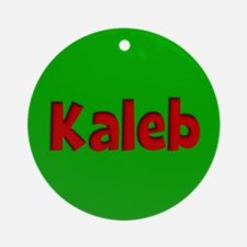 Kaleb Green and Red Ornament (Round)