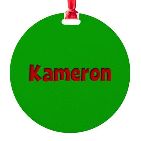 Kameron Green and Red Round Ornament