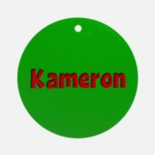 Kameron Green and Red Ornament (Round)