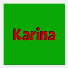"""Karina Green and Red Square Car Magnet 3"""" x 3"""""""