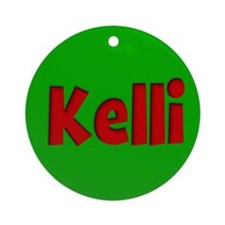 Kelli Green and Red Ornament (Round)