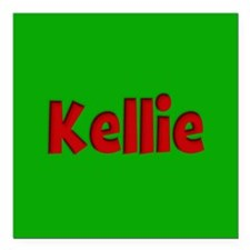 "Kellie Green and Red Square Car Magnet 3"" x 3"""