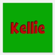 """Kellie Green and Red Square Car Magnet 3"""" x 3"""""""