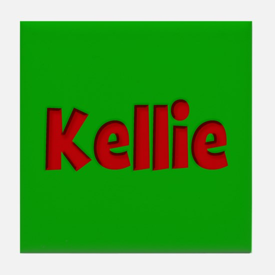 Kellie Green and Red Tile Coaster