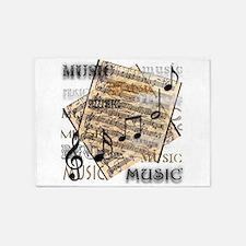 Vintage Music 5'x7'Area Rug