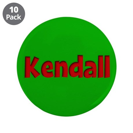 "Kendall Green and Red 3.5"" Button (10 pack)"