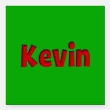 """Kevin Green and Red Square Car Magnet 3"""" x 3"""""""