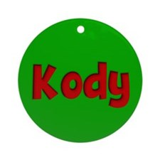 Kody Green and Red Ornament (Round)