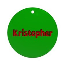 Kristopher Green and Red Ornament (Round)