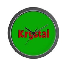 Krystal Green and Red Wall Clock