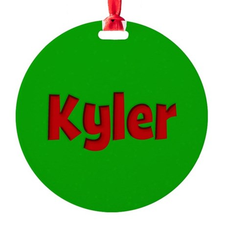 Kyler Green and Red Round Ornament