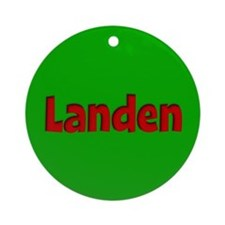 Landen Green and Red Ornament (Round)