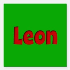 "Leon Green and Red Square Car Magnet 3"" x 3"""