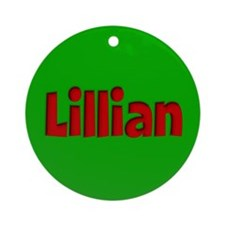 Lillian Green and Red Ornament (Round)