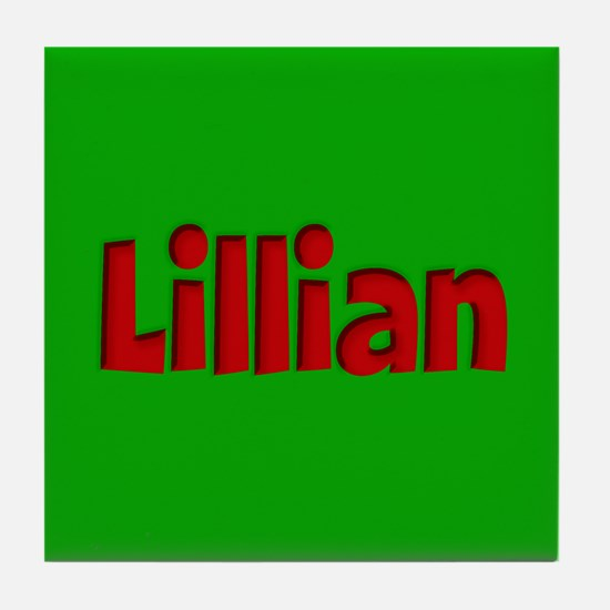 Lillian Green and Red Tile Coaster
