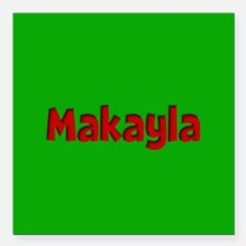 "Makayla Green and Red Square Car Magnet 3"" x 3"""