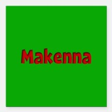 """Makenna Green and Red Square Car Magnet 3"""" x 3"""""""