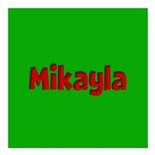 """Mikayla Green and Red Square Car Magnet 3"""" x 3"""""""