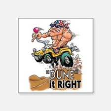 """Dune It Right"" Dune Buggy Cartoon Square Sticker"