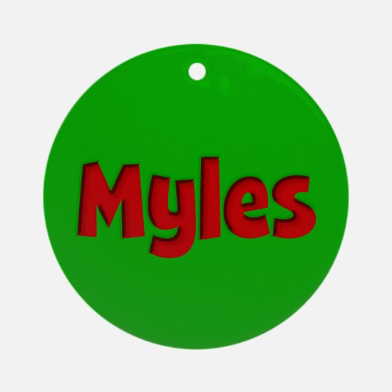 Myles Green and Red Ornament (Round)