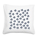 Blue Fish Square Canvas Pillow