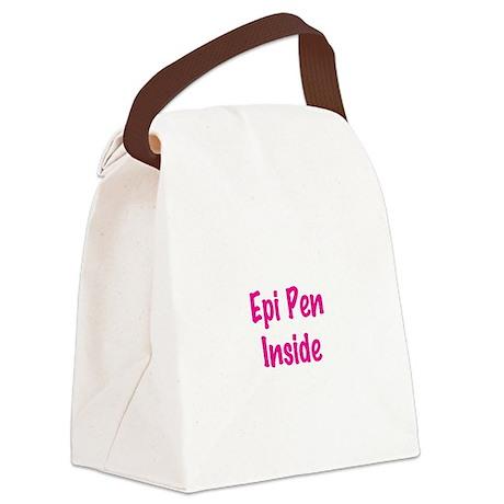 Epi Pen Inside Pink Canvas Lunch Bag