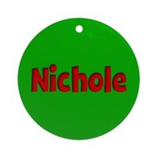 Nichole Green and Red Ornament (Round)