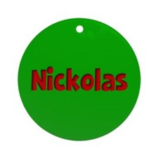 Nickolas Green and Red Ornament (Round)