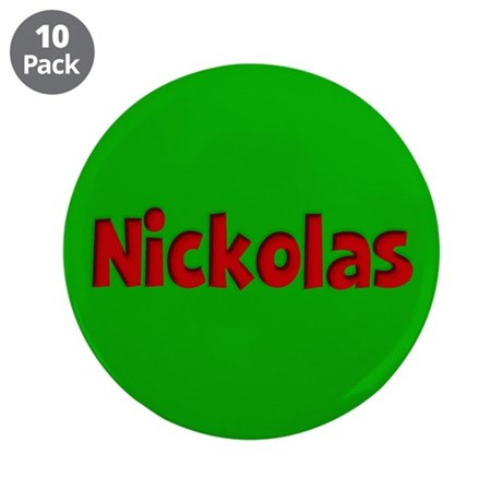 """Nickolas Green and Red 3.5"""" Button (10 pack)"""