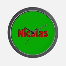Nicolas Green and Red Wall Clock