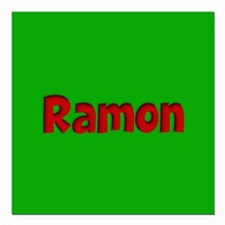 """Ramon Green and Red Square Car Magnet 3"""" x 3"""""""
