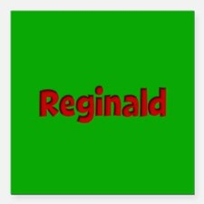 "Reginald Green and Red Square Car Magnet 3"" x 3"""