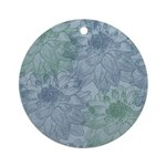 Blue and Green Peonies Ornament (Round)