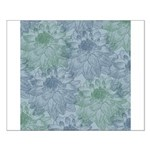 Blue and Green Peonies Small Poster