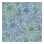 Blue and Green Peonies Square Car Magnet 3