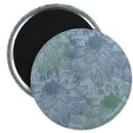 Blue and Green Peonies Magnet