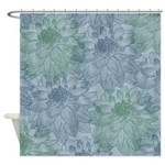 Blue and Green Peonies Shower Curtain