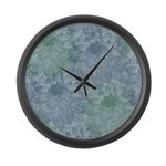Blue and Green Peonies Large Wall Clock