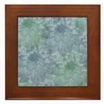 Blue and Green Peonies Framed Tile