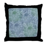 Blue and Green Peonies Throw Pillow